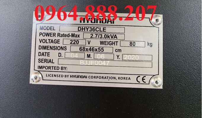 Máy phát điện dầu 3kW Hyundai DHY36CLE